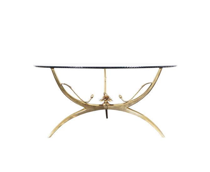 "Italian Brass ""Lotus"" Coffee Table"