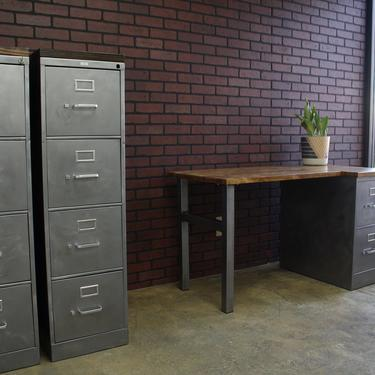 Refinished 4 drawer Metal Filing Cabinet w/ or w/o Solid Wood Top / industrial cabinet / metal filing cabinet / rustic office / Hon by TheRusticForest