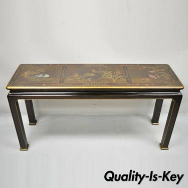 Henredon Chinoiserie Oriental Asian Decorated Painted Console Sofa Hall Table