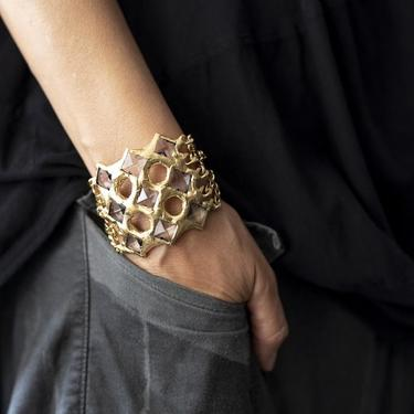 18k Gold Plated Crystal and Chain Sawyer Cuff
