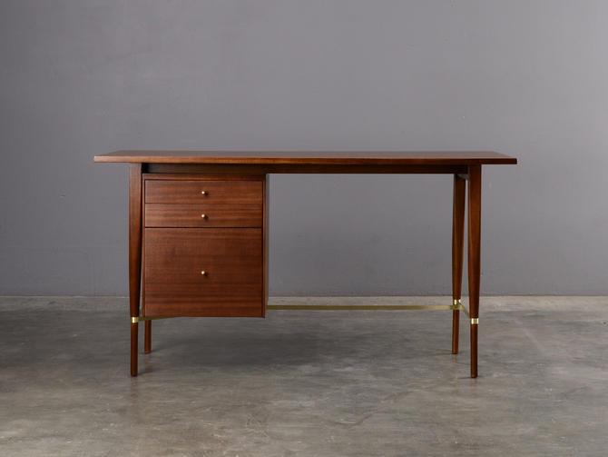 Paul McCobb Desk Mid-Century Modern Mahogany and Brass Calvin by MadsenModern