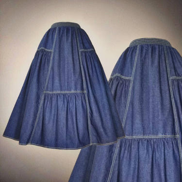 Vintage 80s Dark Wash Denim Skirt, Medium / Topstitch Jean Skirt / Sasson Elastic Waist Day Skirt with Pockets / Country Square Dance Skirt by SoughtClothier