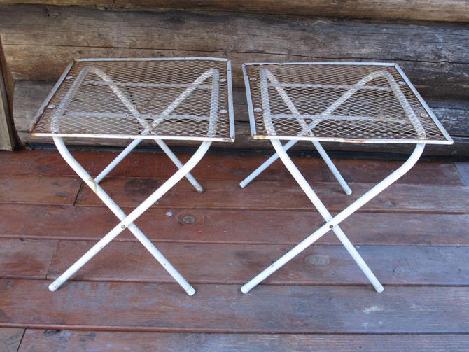Set of 2 White Metal Garden Tables Mid Century Modern Fold Up Mesh Patio Table White Outdoor Metal Square Table Folding Table by akaATA