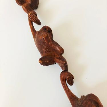 Set of 3 Vintage Wood Hanging Monkeys by SergeantSailor