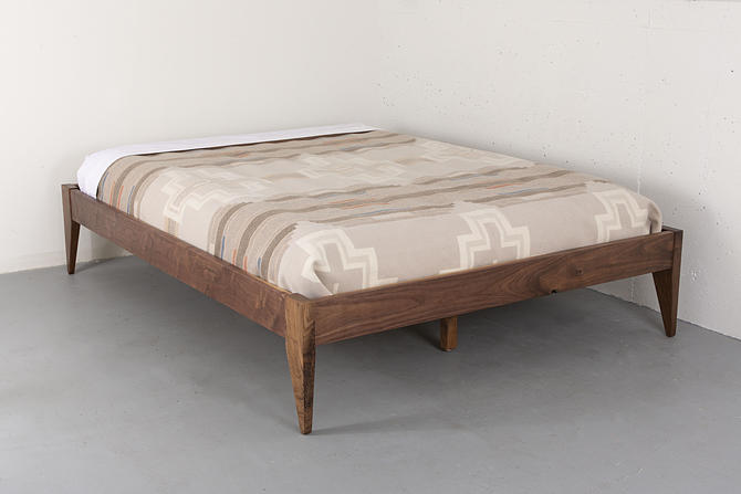 Walnut Platform Bed, Solid Wood Bed Frame, Mid Century Modern Bed by kyledauria