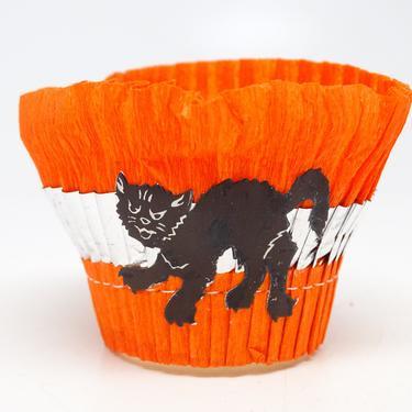 Vintage Black Cat Halloween Party Basket, Orange Crepe Paper Candy Container, Retro Decoration by exploremag