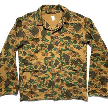 Vintage Camouflage Cotton Twill Jacket ~ fits M ~ Vietnam War ~ Civilian Camo ~ Duck Hunter / Frogskin ~ Beo Gam by SparrowsAndWolves