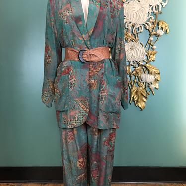 1980s rayon suit, blazer and pants, vintage 2 piece set, componix, size large, High waist pants, boxy suit jacket, teal and rust, streetwear by BlackLabelVintageWA