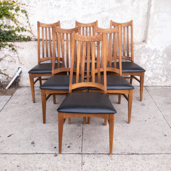 Vintage 1960s Spindle Back Dining Chairs-Set of 6