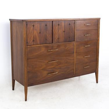 Broyhill Saga Mid Century Walnut Magna Highboy Dresser - mcm by ModernHill