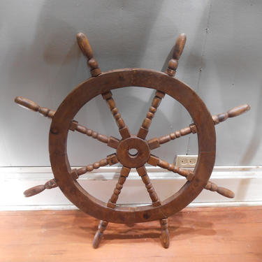 """Antique Solid Wood Ships Wheel Decorative Oak Nautical Decor Wall Hanging Sturdy Design 8 Eight Spokes Repurpose Table Project 36"""" Diameter by kissmyattvintage"""