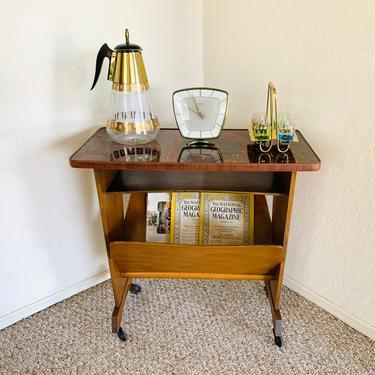 Vintage Magazine Rack, Formica Table, Telephone Table, Rolling Magazine Cart, Vintage Cart, Trolley, German Vintage, Record Vinyl Holder by dadacat