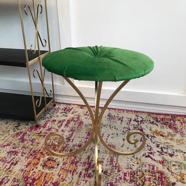 Vanity Seat Stool, 1960s Vanity Stool, tufted emerald green velvet wrought iron stool or plant stand by VintageCoreReStore