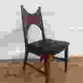 Mid Century Walnut Desk Chair w/ Embroidered Seat