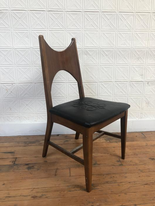 Mid Century Walnut Desk Chair w/ Embroidered Seat