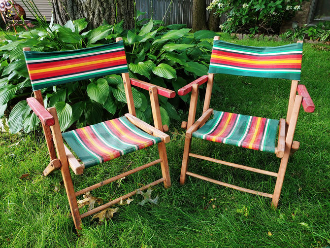 Children's Mid Century Pair of Wood and Fabric Folding Lawn Camping Chairs by RedsRustyRelics