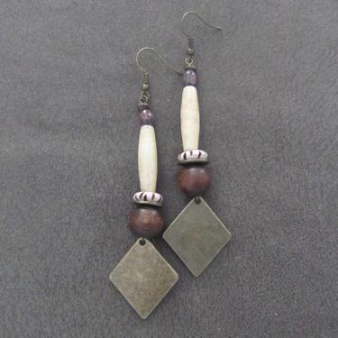 Ethnic earrings, tribal dangle earrings, horn Afrocentric African earrings, bold statement carved bone earrings, primitive exotic boho by Afrocasian