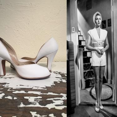 Postman Always Rings Twice - Vintage 1940s White Nubuck Leather Pumps Shoes Heels - 7.5 by RoadsLessTravelled2