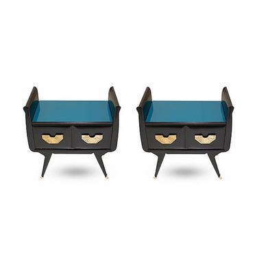 1960s Italian Mid-Century Modern Teal Blue & Black Lacquer Pair of Nightstands