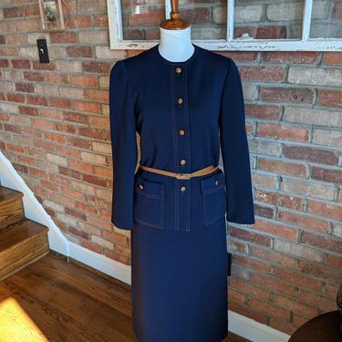 Vintage 1960's Nieman Marcus Blue and Tan Skirt Suit Set with matching Belt by BeesKneesVintageDC