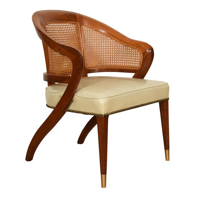 Mid Century Modern Walnut Accent Arm Chair w\/ Rattan Back