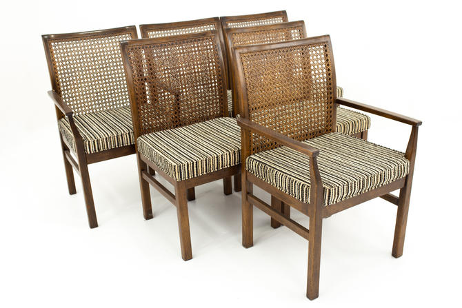 Lane Mid Century Cane Backed Walnut Dining Chairs - Set of 6 - mcm by ModernHill