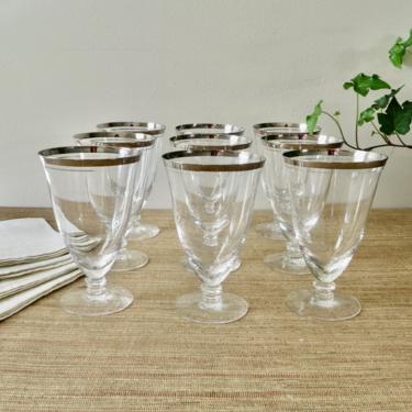 Vintage Stemware - Silver Rim Crystal Stemware - Silver Band Goblets - Crystal Iced Tea Water Goblets - Silver Rim Goblets  - Fine Glassware by SoulfulVintage