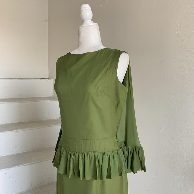 Olivine Silk MCM Sleeveless Peplum Goddess Dress Vintage 36 Bust 1960s Cocktail by AmalgamatedShop