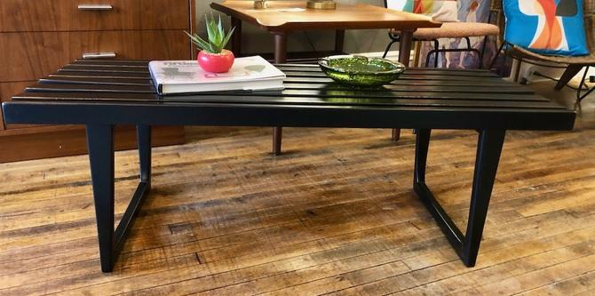 Vintage Black Lacquer Slat Bench/Coffee Table