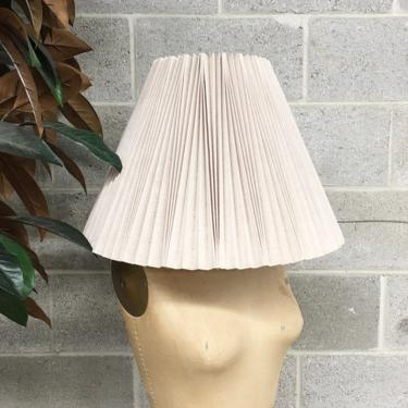 Vintage Lamp Shade Retro 1980s Pleated + Crimped + Accordion + Empire Shade + Beige + Eggshell White + Lighting and Home Decor by RetrospectVintage215