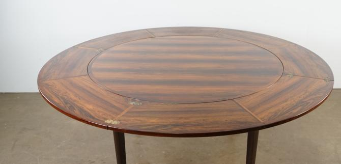 Rosewood Flip Top Lotus dining table by Drylund
