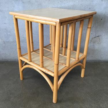 1950's Rattan Blonde Formica Top End Table