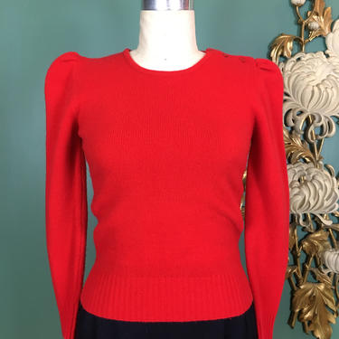1980s sweater, vintage sweater, red cashmere sweater, vintage jumper, Neiman Marcus, puff shoulders, 1940s style sweater, fitted cropped, 34 by BlackLabelVintageWA