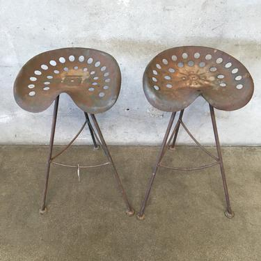 Pair of Vintage Tractor Seat Bar Stools