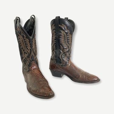 Vintage LAREDO Snakeskin Cowboy Boots ~ 10 1/2 D ~ Western ~ Rockabilly ~ Biker ~ by SparrowsAndWolves