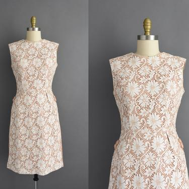 1950s vintage dress | Gorgeous Carol Craig Floral Cotton Lace Satin Bridesmaid Cocktail Party Wiggle Dress | Small | 50s dress by simplicityisbliss