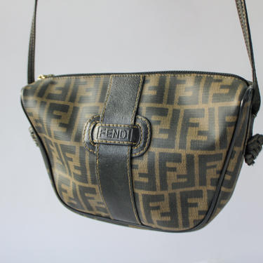 Vintage 80s Fendi Zucca Coated Canvas and Leather Crossbody Bag   Made in Italy   Serial Number 43380640019   1980s Fendi Designer Purse by TheVault1969