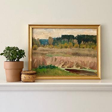 Vintage European Landscape Oil Painting En Plein Air Prairie Field Scene by ModRendition