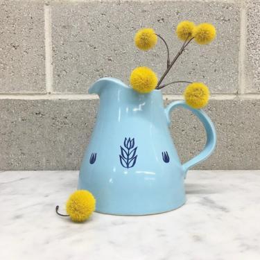 Vintage Pitcher Retro 1950s Cronin + USA Pottery + Blue Tulip + Mid Century Modern + Ceramic + Ice Lip + MCM + Drinkware + Kitchen Decor by RetrospectVintage215
