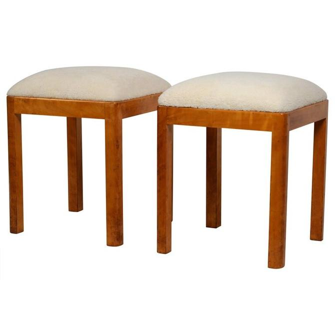 Pair of Uber-Chic German Art Deco Stools with Shearling Seats