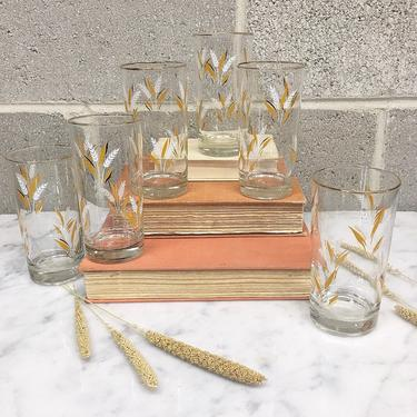 Vintage Drinking Glass Set 1960s Mid Century Modern + Libbey + Wheat Pattern + Set of 6 Matching Glasses + MCM + Home and Kitchen Decor by RetrospectVintage215