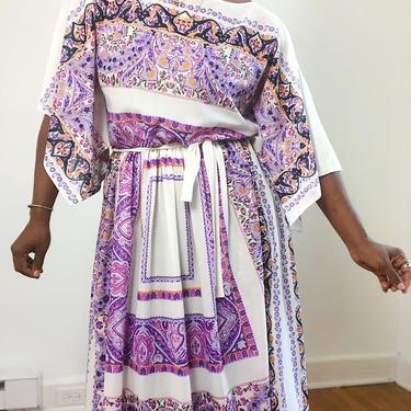 Vintage 1960s 1970s Bohemian Midi Dress Split Slit Sleeves Handkerchief Scarf Dainty Print Sheer Blousy Large L Keepers Vintage by KeepersVintage