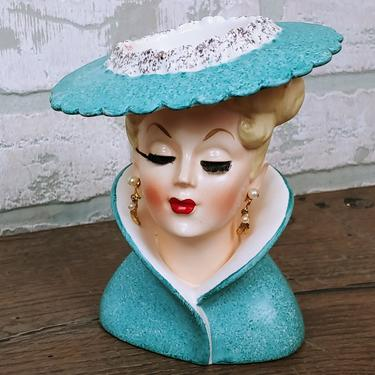 Vintage Napco C3815C Blue with Pearls and Hat Woman's Head Bust Vase Made in Japan by RedsRustyRelics