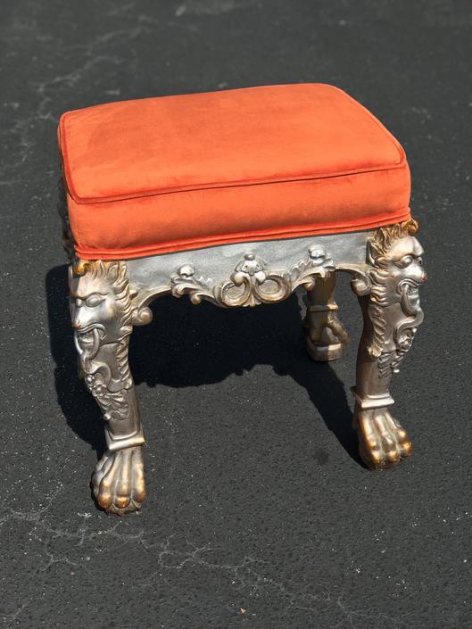 Incredible dragon bench / ottoman with new velvet upholstery by HolbrookBazaar