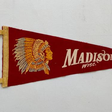 Vintage Madison Wisconsin Pennant, Souvenir Pennant, Native American Chief, University Of Wisconsin by luckduck