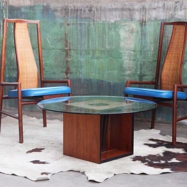RARE Sculptural Danish Modern Teak + Walnut Cube Table base + QUALITY Glass Top Coffee Side Hvidt Norreklit Kristiansen Mid Century MCM Mod by CatchMyDriftVintage