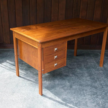 1970s Danish Teak Mid-Century Peter Lovig Nielson Jens Quistgaard Sliding Top Writing Desk by BrainWashington