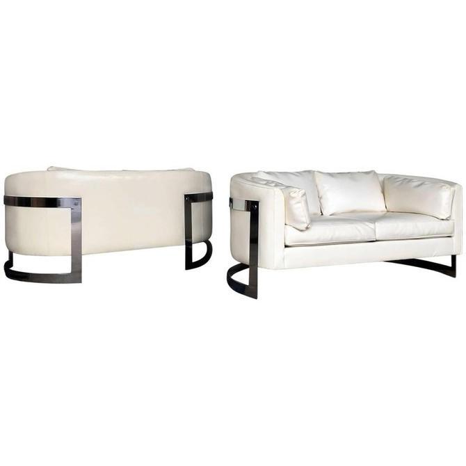 Milo Baughman era love seats(Pair) by HermansSteelGarage