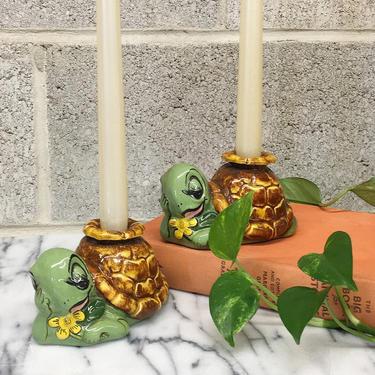 Vintage Candlestick Holders Retro 1960s Ceramic Turtles + Set of 2 Matching + Mid Century Modern + Candle + MCM Home Decor + Lighting by RetrospectVintage215