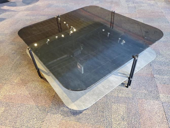 Biplane 2 Tier Tinted Tempered Glass and Ceramic Square Coffee Table by Cattelan Italia